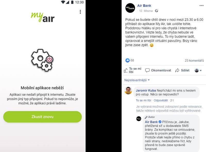 Printscreen airbank post z facebooku